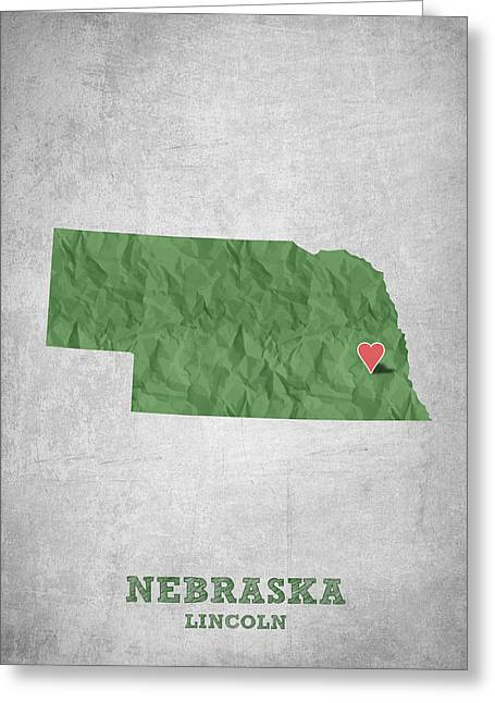 I Love Lincoln Nebraska - Green Greeting Card by Aged Pixel