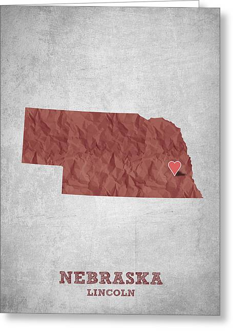 I Love Lincoln Nebraska - Red Greeting Card by Aged Pixel