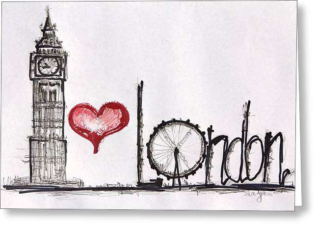 I Love London Greeting Card by Sladjana Lazarevic