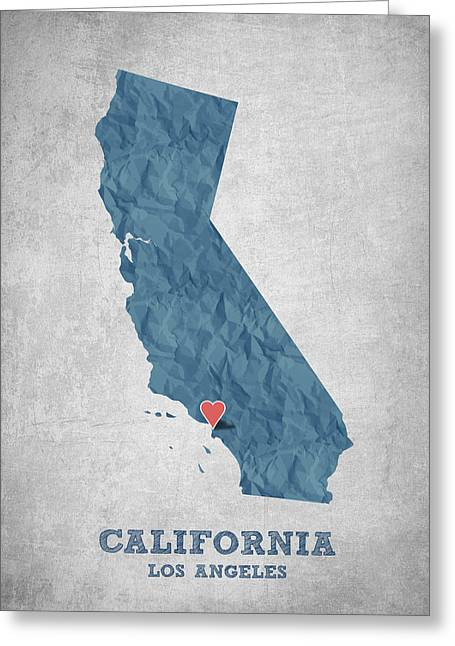 I Love Los Angeles California - Blue Greeting Card by Aged Pixel