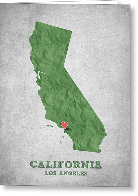 I Love Los Angeles California - Green Greeting Card by Aged Pixel