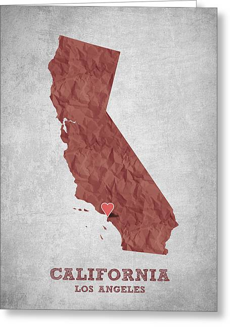 I Love Los Angeles California - Red Greeting Card by Aged Pixel