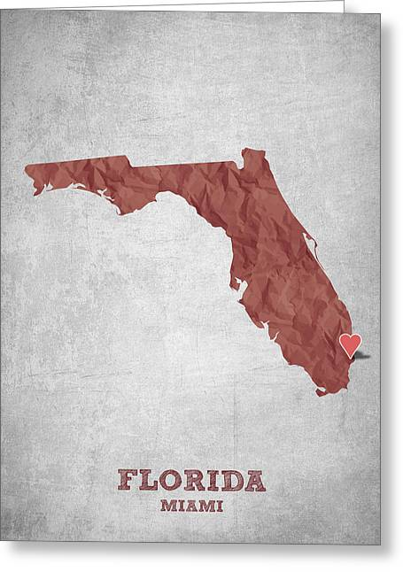 I Love Miami Florida - Red Greeting Card by Aged Pixel