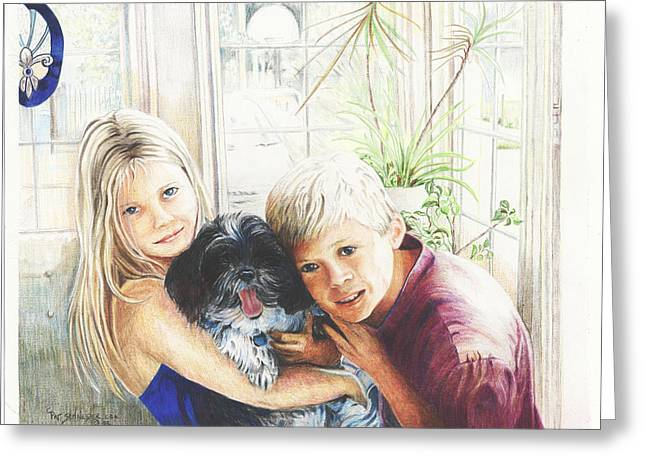 Greeting Card featuring the painting I Love My Dog by Patricia Schneider Mitchell