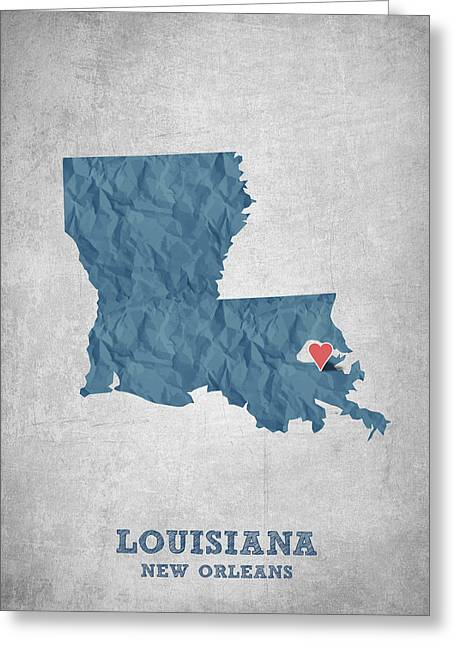 I Love New Orleans Louisiana - Blue Greeting Card by Aged Pixel