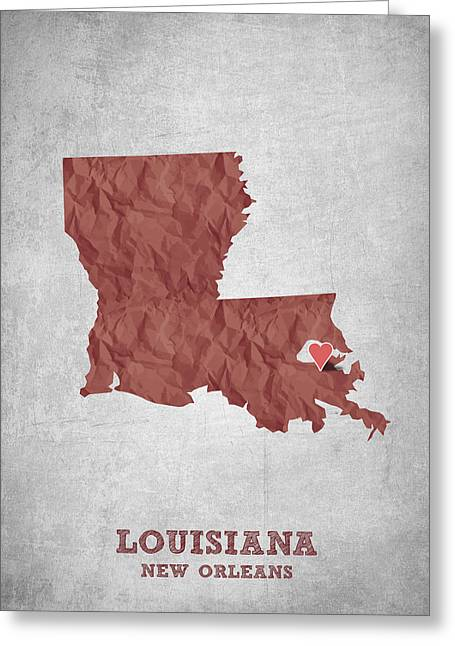 I Love New Orleans Louisiana - Red Greeting Card by Aged Pixel