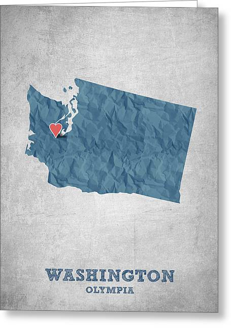 I Love Olympia Washington- Blue Greeting Card by Aged Pixel