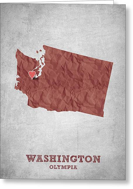 I Love Olympia Washington- Red Greeting Card by Aged Pixel
