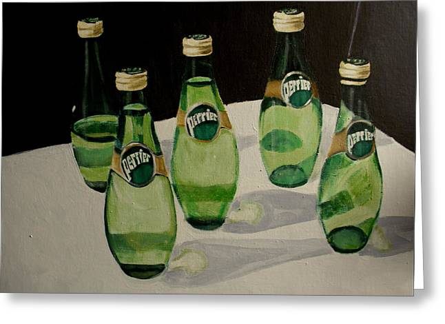 Perrier Bottled Water, Green Bottles, Conceptual Still Life Art Painting Print By Ai P. Nilson Greeting Card