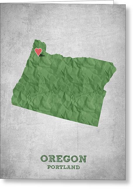 I Love Portland Oregon- Green Greeting Card
