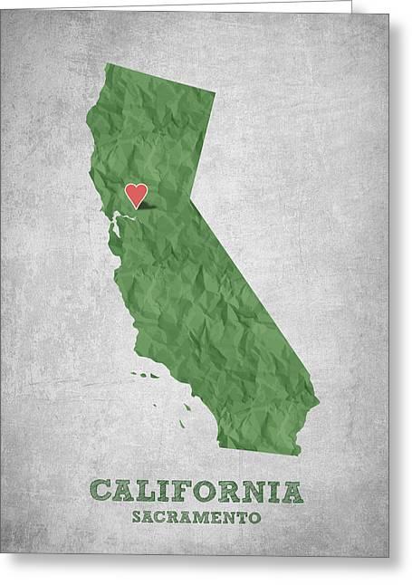 I Love Sacramento California - Green Greeting Card