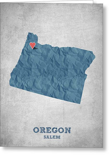 I Love Salem Oregon- Blue Greeting Card by Aged Pixel