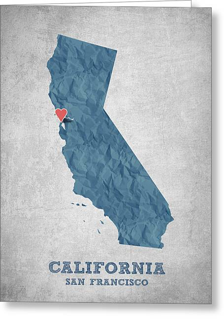 I Love San Francisco California - Blue Greeting Card by Aged Pixel