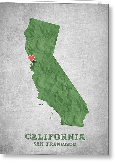 I Love San Francisco California - Green Greeting Card by Aged Pixel