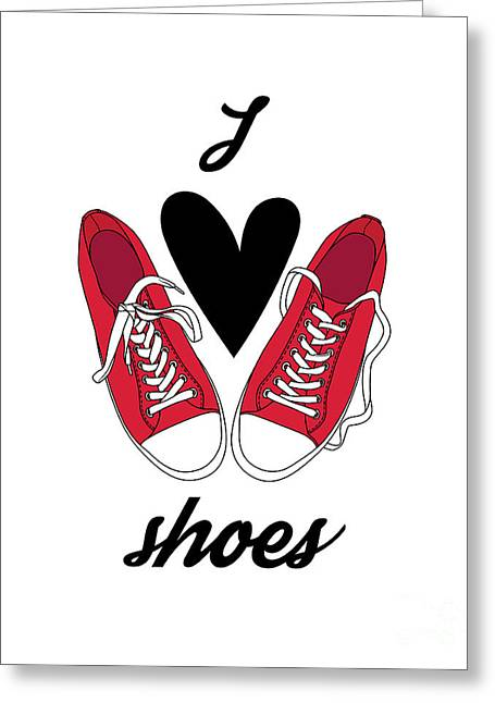 I Love Shoes Poster. Vector Greeting Card