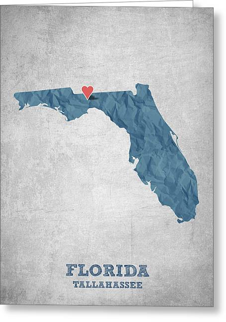 I Love Tallahassee Florida - Blue Greeting Card by Aged Pixel