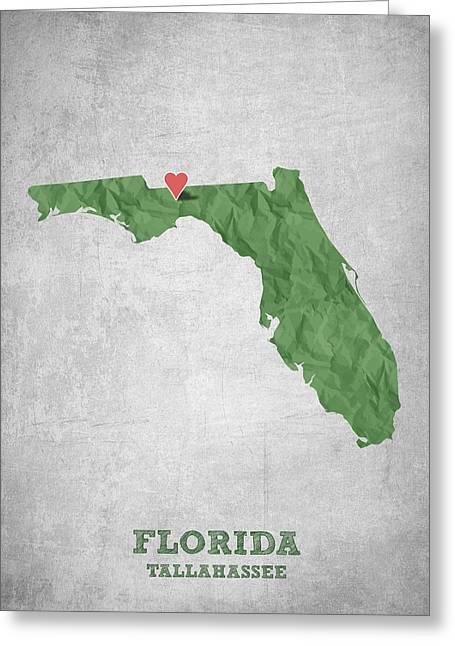 I Love Tallahassee Florida - Green Greeting Card