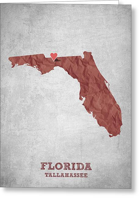 I Love Tallahassee Florida - Red Greeting Card by Aged Pixel