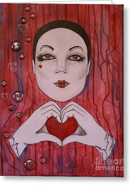 Greeting Card featuring the painting I Love You by Jane Chesnut