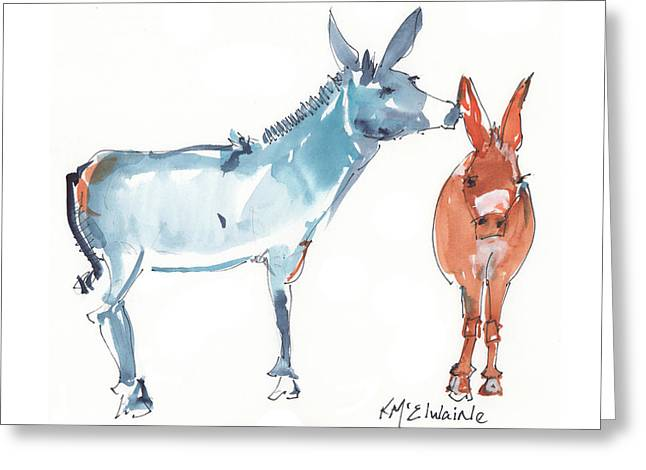 I Love You Donkey Art Watercolor Painting By Kmcelwaine Greeting Card by Kathleen McElwaine