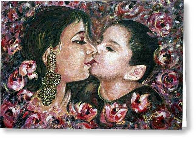Greeting Card featuring the painting I Love You Mom by Harsh Malik