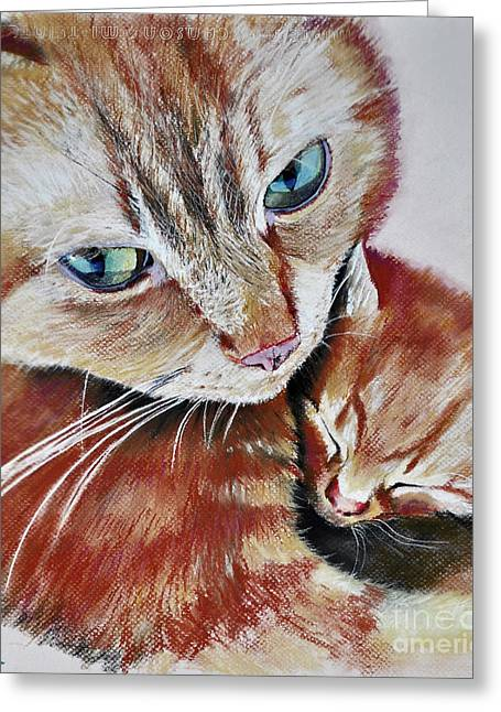 Greeting Card featuring the drawing I Love You Mommy by Maja Sokolowska