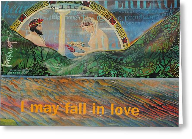 Beach Mountain Green Butterflies Basquiat Delphi Oracle Sky I May Fall In Love  Greeting Card