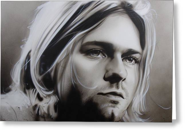 Kurt Cobain - ' I Need An Easy Friend ' Greeting Card by Christian Chapman Art