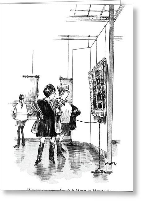 I Never Can Remember. Is It Manet Or Monet Who Greeting Card by Charles Saxon