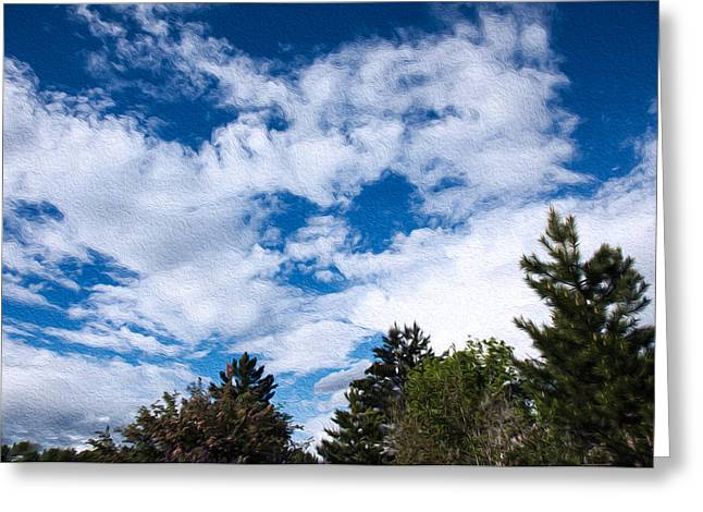 I See A White Cloud Looking At Me Greeting Card by Omaste Witkowski