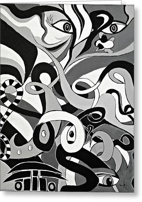 Black And White Acrylic Painting Original Abstract Artwork Eye Art  Greeting Card