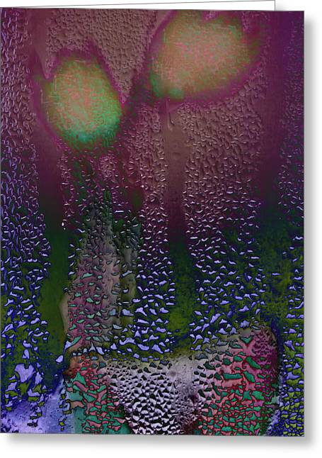 I Watched It Rain On My Tulips Greeting Card by Hal Halli