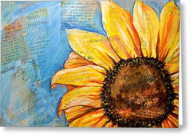 Greeting Card featuring the painting I Will Have No Fear Sunflower by Lisa Fiedler Jaworski