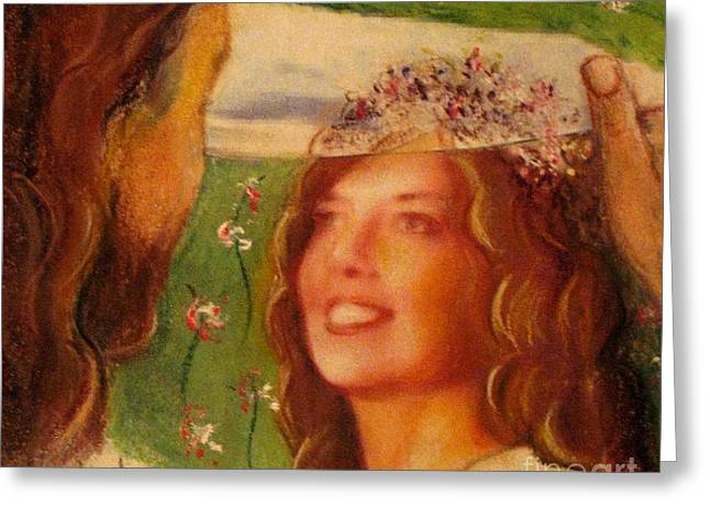 Greeting Card featuring the painting I Will Lift The Veil by Hazel Holland
