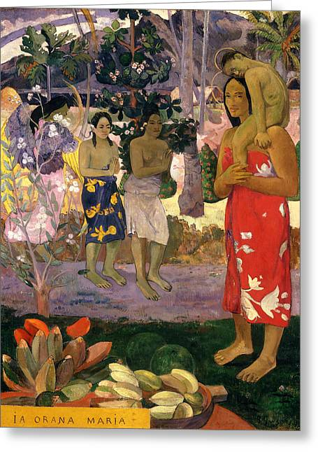 Ia Orana Maria .hail Mary Greeting Card by Paul Gauguin