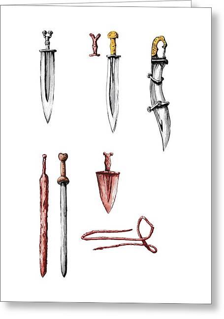 Iberian Weapons Greeting Card by Sergi Segura