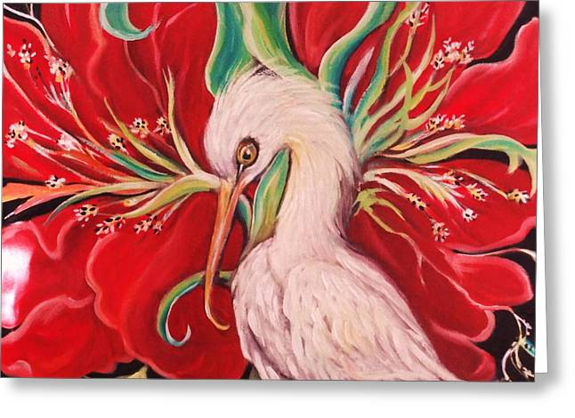 Ibis And Red Flower Greeting Card