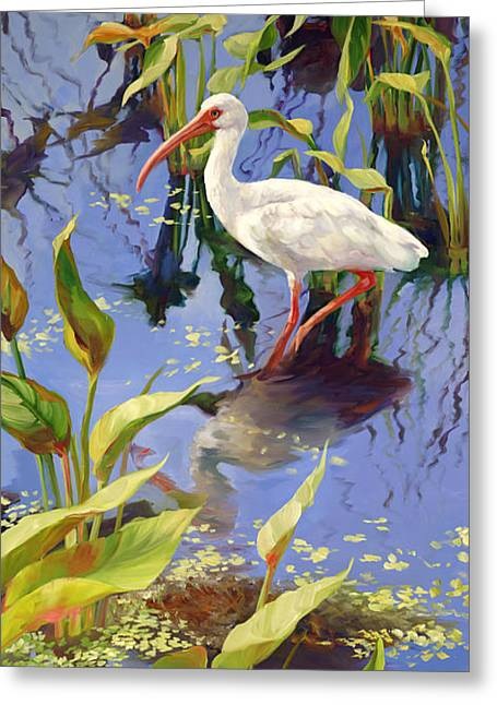 Ibis Deux Greeting Card by Laurie Hein