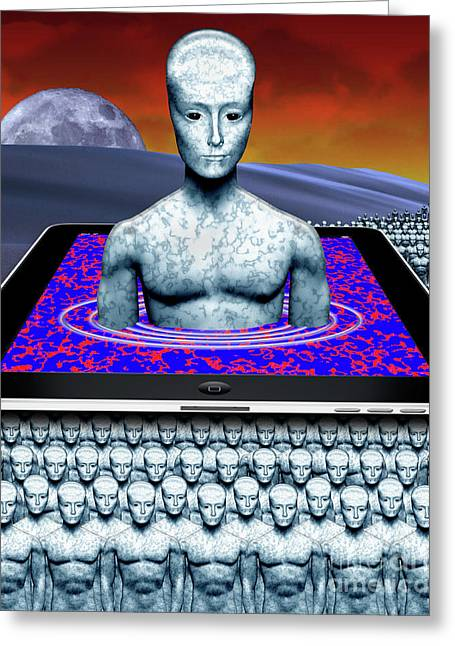 iBots Take Over Greeting Card by Keith Dillon