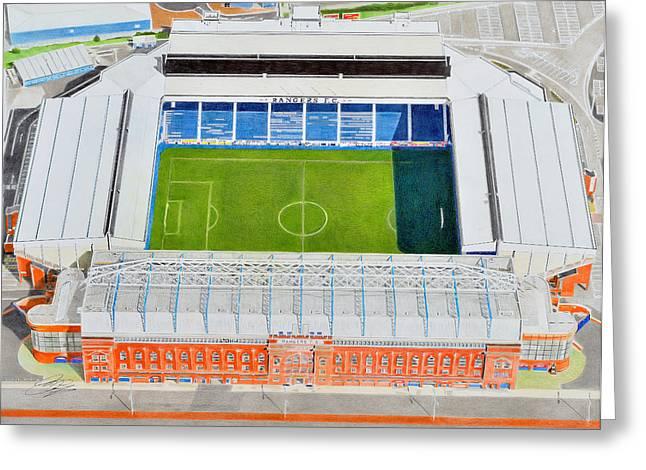 Ibrox Stadia Art - Glasgow Rangers Fc Greeting Card by Brian Casey