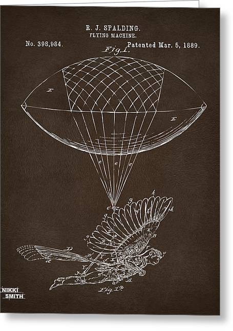 Greeting Card featuring the drawing Icarus Airborn Patent Artwork Espresso by Nikki Marie Smith