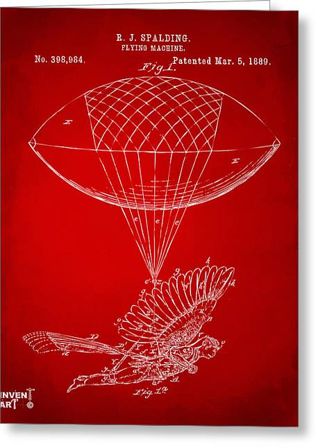 Icarus Airborn Patent Artwork Red Greeting Card by Nikki Marie Smith