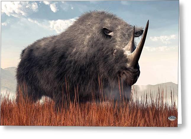 Ice Age Rhino Greeting Card by Daniel Eskridge