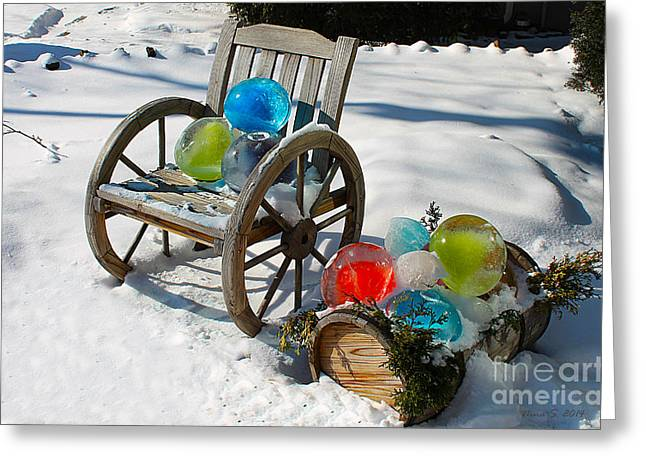 Greeting Card featuring the photograph Ice Ball Art by Nina Silver
