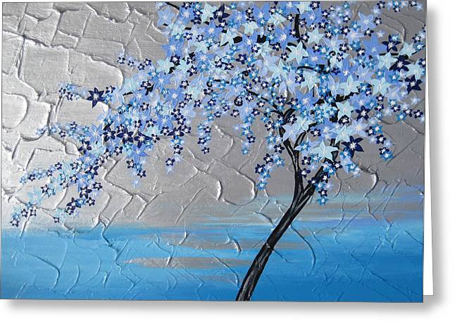 Ice Blue Cherry Blossom Greeting Card by Cathy Jacobs