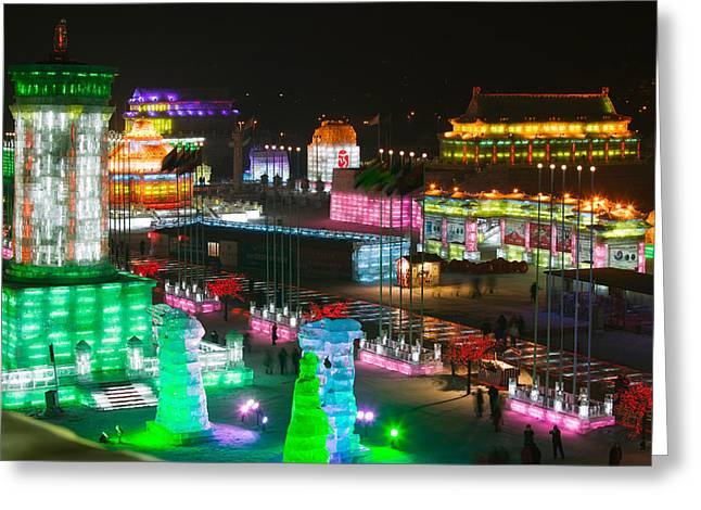 Ice Buildings At The Harbin Greeting Card by Panoramic Images