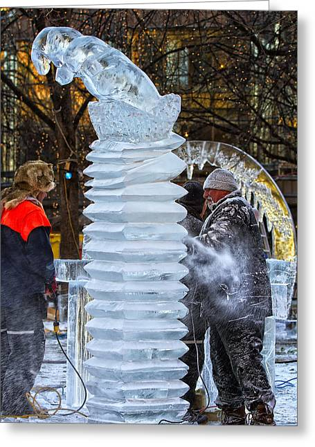 Ice Carving 2 Greeting Card by Linda Tiepelman