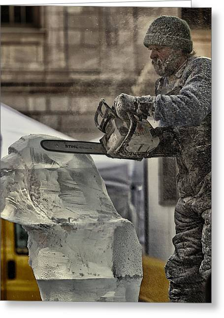 Ice Carving Greeting Card by Linda Tiepelman