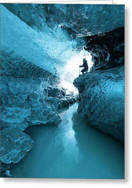 Ice Cave And Subglacial Pond Greeting Card