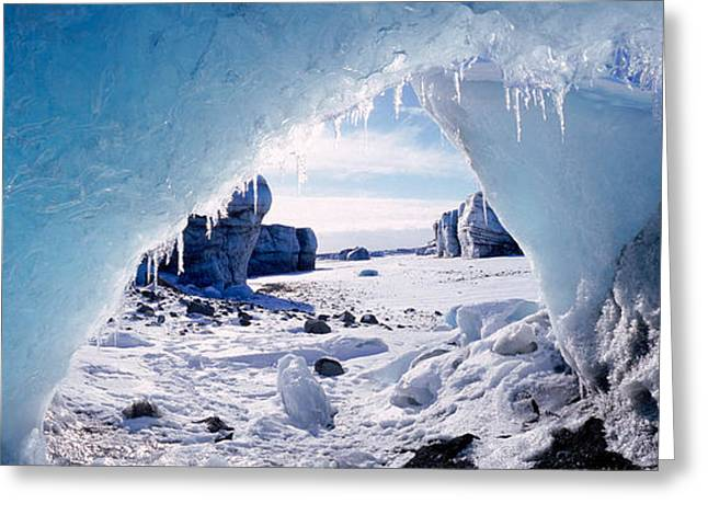 Ice Cave On A Polar Landscape, Gigja Greeting Card by Panoramic Images